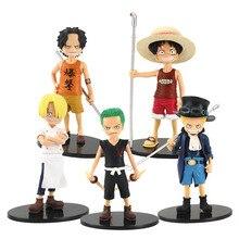 5 pièces/lot une pièce chiffres la Grandline enfants vol.2 Luffy Ace Sabo Zoro Sanji PVC figurine jouets poupées
