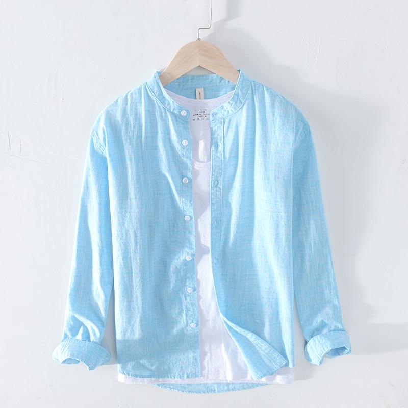 100%Cotton Casual Shirts Men Basic Classic White Hawaiian Shirt Male Long Sleeve Stand Collar Clothing Y2383