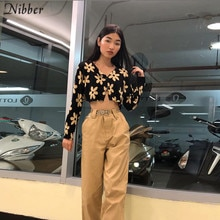 Mordedor otoño Harajuku Impresión de manga completa recortada camiseta para mujer 2019 moda de calle alta casual camisetas negras mujer