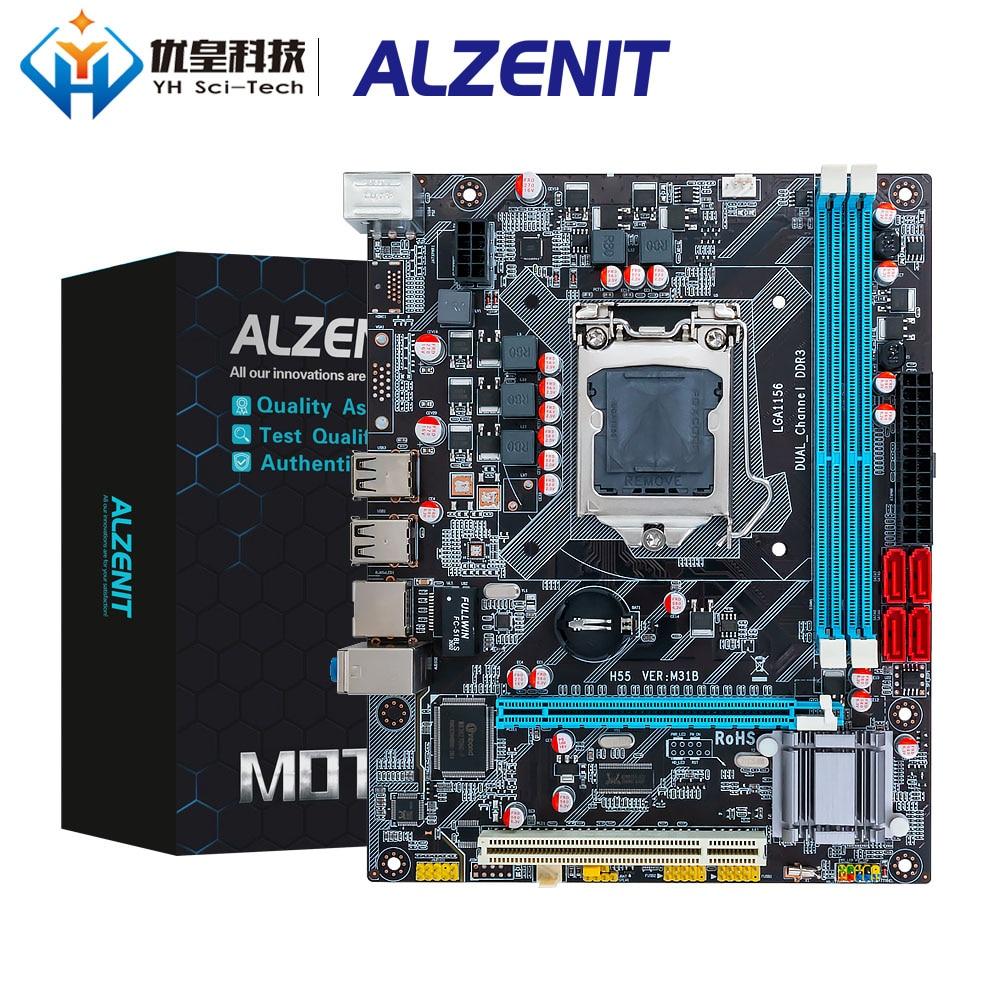 ALZENIT P55 Intel P55 Brand New Motherboard Para LGA 1156 i3 i5 i7 DDR3 16GB USB2.0 SATA2.0 M-ATX Servidor Mainboard