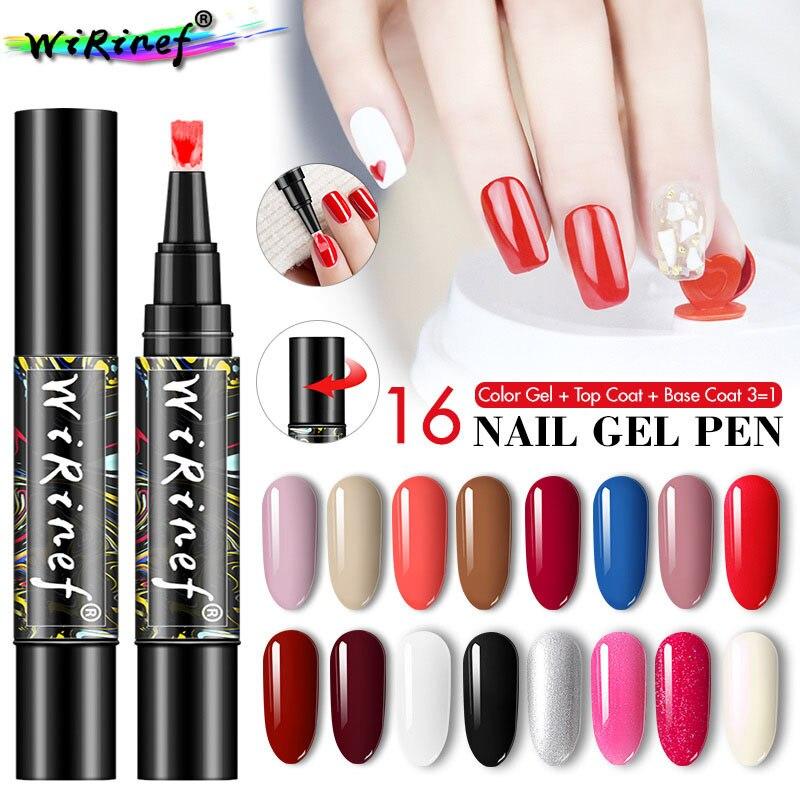 16 couleurs Nail Art stylo poli stylo UV Gel bricolage conception une étape 3 en 1 Nail Art couleur Gel mat couche de finition imbiber les outils de manucure