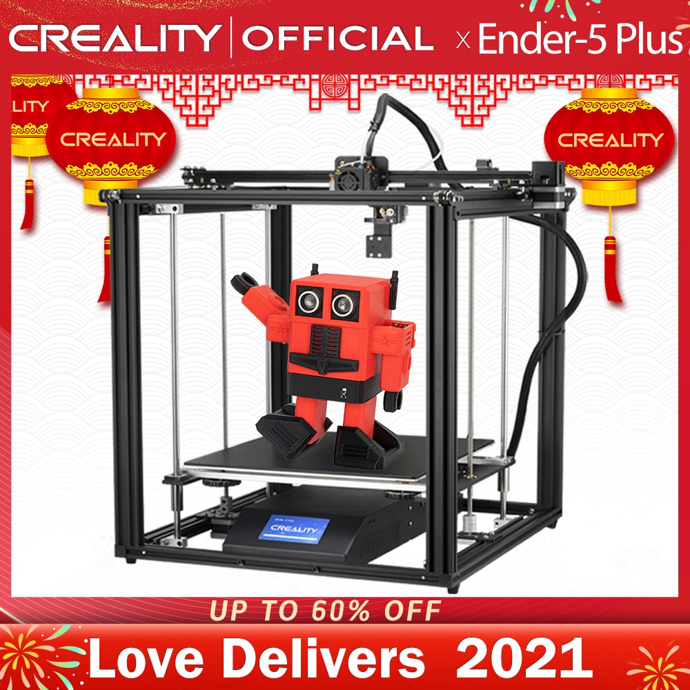 CREALITY 3D Printer Ender-5 Plus Dual Y-axis Motors Glass Build Plate Power off Resume Printing Masks Enclosed Structure