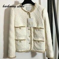 luxury brand bright silk plaid printing fashion womens top multifunctional round neck single row button tweed long sleeve coat