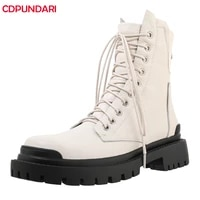 ladies white black lace up genuine leather med heels platform ankle boots women autumn winter punk motorcycle short boots shoes