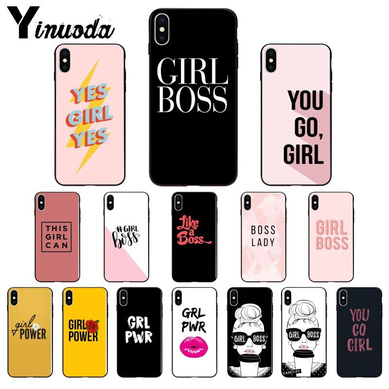 Yinuoda, carcasa de teléfono de alta calidad suave de TPU con chica Boss Girl para iPhone 6S 6plus 7 7plus 8 8Plus X Xs MAX 5 5S XR 11 11pro max