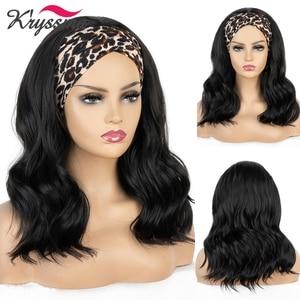 Kryssma Body Wave Bob Headband Wig No Glue Short Synthetic Wigs with Headband Hair Summer Scarf Headband Wig 12 Inch Natural