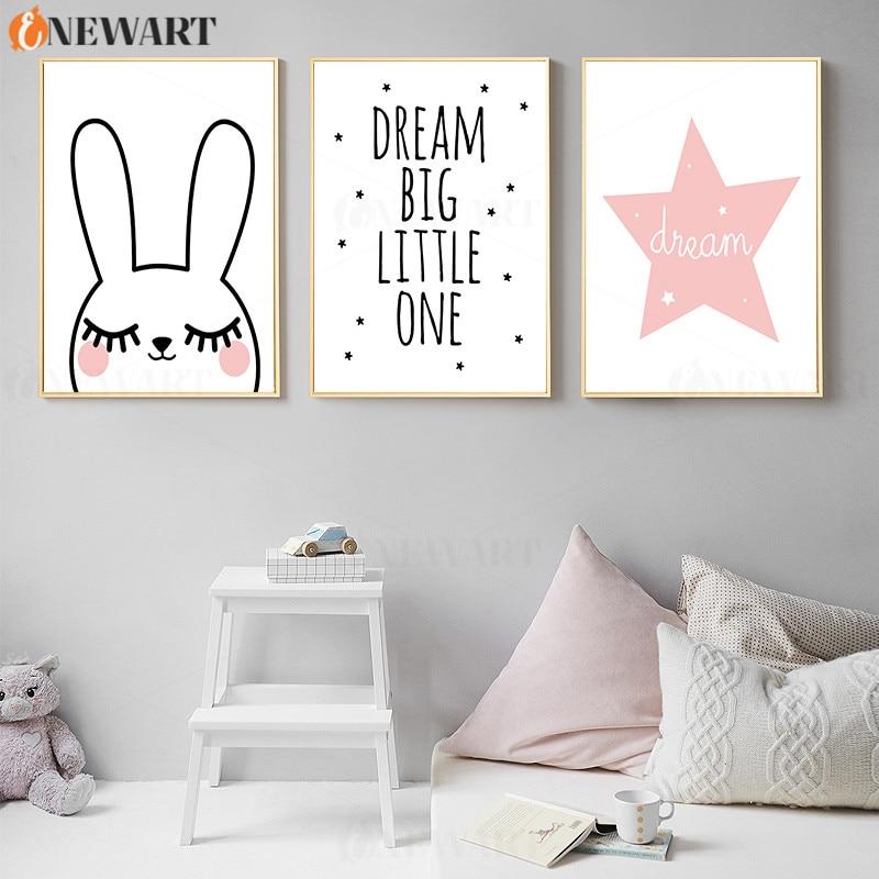 Cartoon Rabbit Prints Wall Poster Nursery Decoration Art Pink Decorative Poster Dream Big Little One Canvas Painting