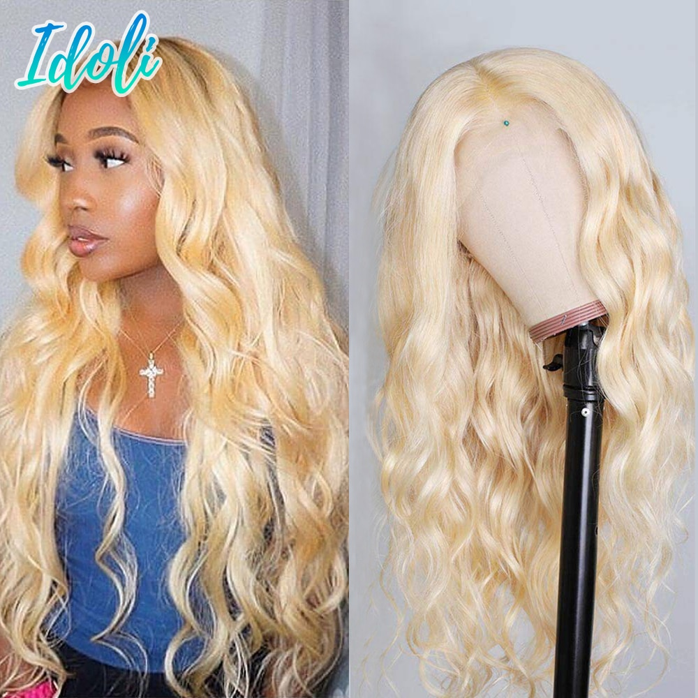 30Inch 613 Lace Frontal Wig 13x4 13x4x1 Blonde 613 Lace Front Wig Brazilian Idoli Remy Body Wave Human Hair Wig 150 180 Density