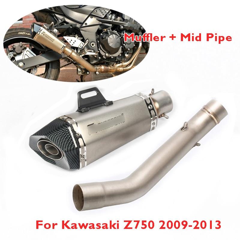 Slip on Z750 tubo de Escape de la motocicleta silenciador de la tubería de Escape tubo de conexión de enlace medio para Kawasaki Z750 2007-2013