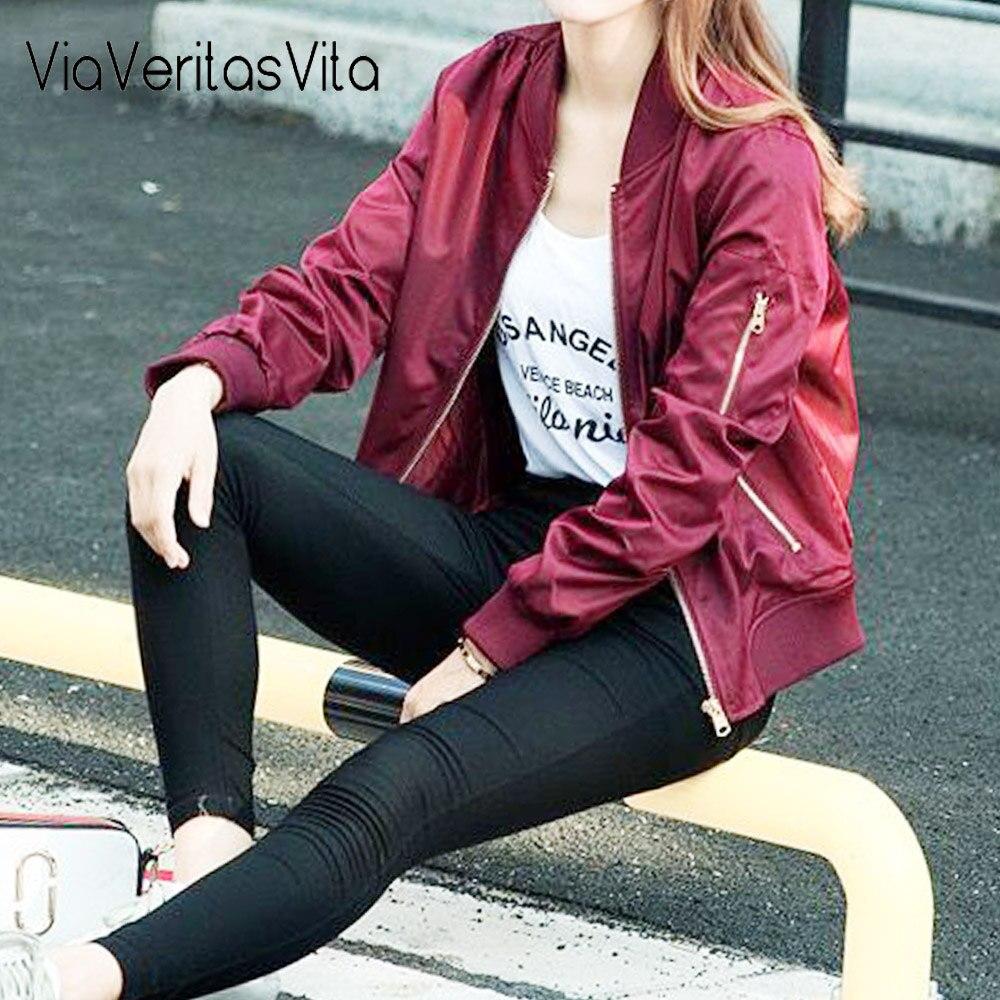 4 colors Womens autumn Bomber Jackets long sleeved zipper Jacket office Coats streetwear navy cuasal Outwear military Jackets