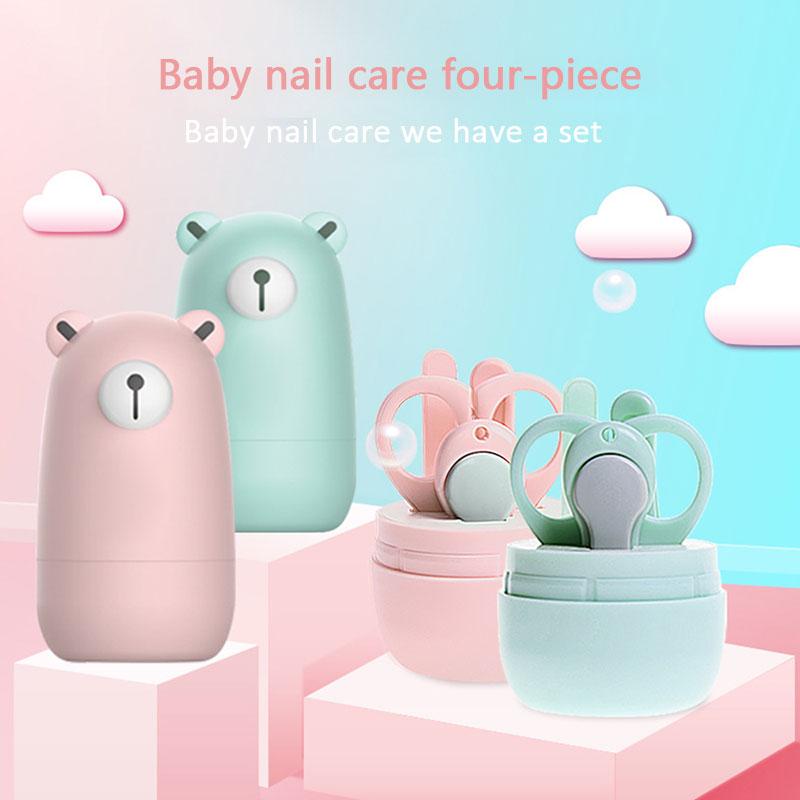 Uñas saludables de atención tijeras caja de cartón oso 4 Uds Color puro dedo tijera niño clavo Clipper cortador de niño manicura conjunto