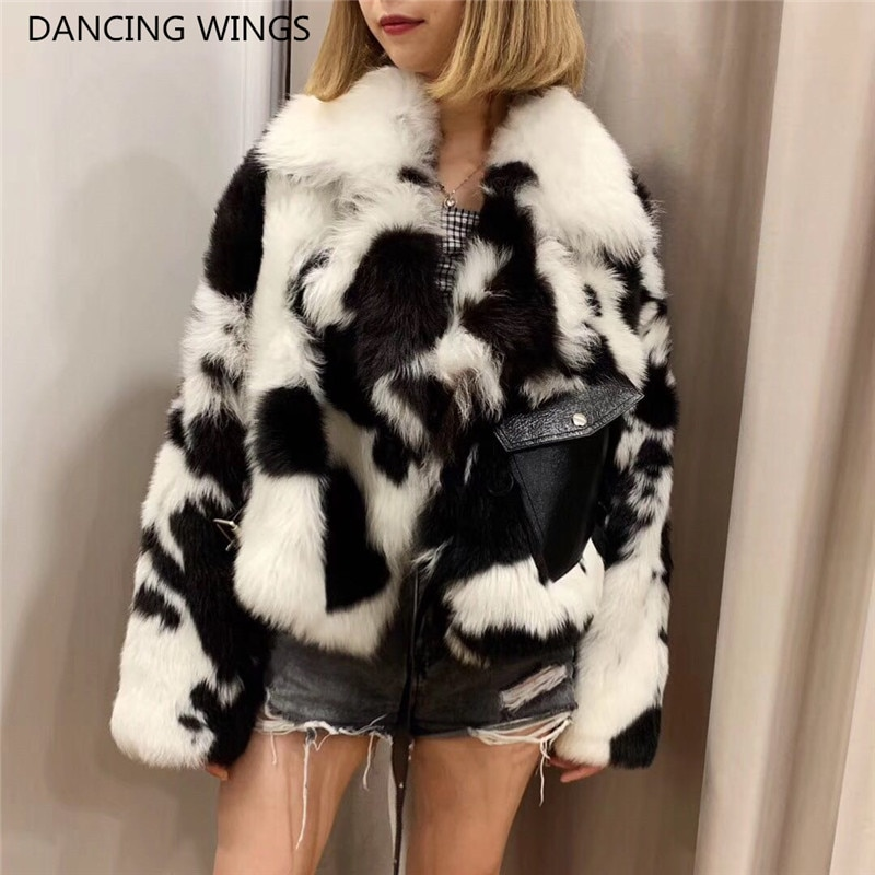 Cow Color Luxury Fur Coats Women Double-faced Fur Motorcycle Jacket Short Style Real Sheep Wool Fur