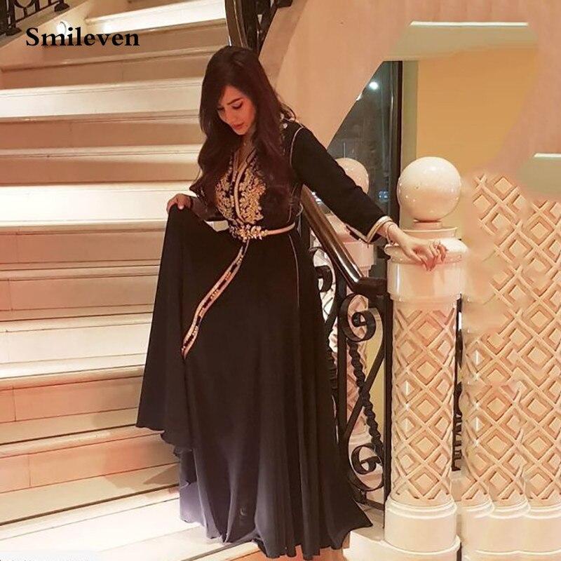 Smileven-فستان سهرة من الحرير والشيفون ، قفطان مغربي ، ياقة على شكل V ، أكمام طويلة ، دانتيل ، للمناسبات الخاصة ، على الطراز الإسلامي ، دبي