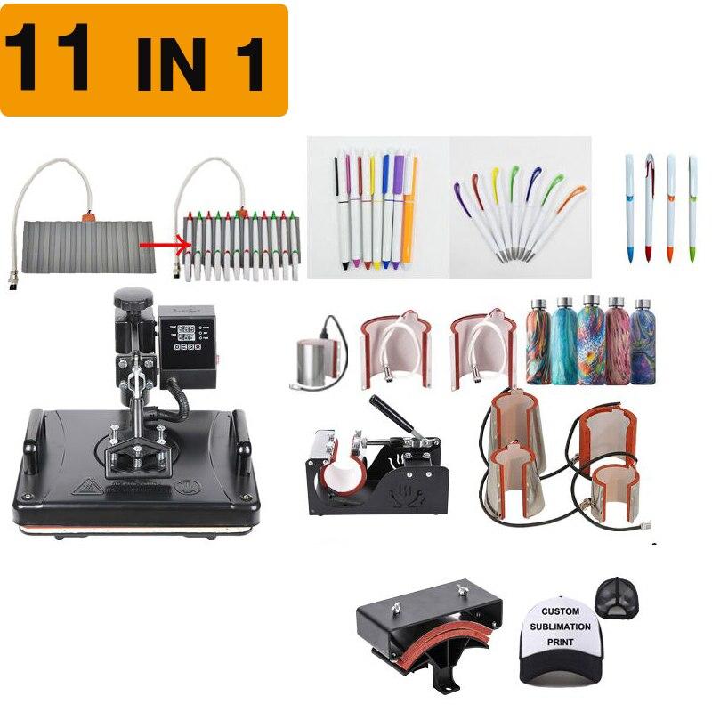 11 في 1 التسامي الحرارة الصحافة آلة ل مخصص الطباعة على تي شيرت/القلم/قبعة/القدح/الهاتف غطاء