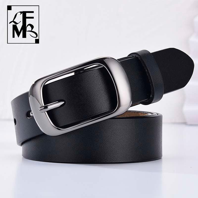 [LFMB]Women's genuine leather fashion retro belt high quality luxury brand ladies metal double buckl