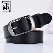 [LFMB]Women's genuine leather fashion retro belt high quality luxury brand ladies metal double buckl