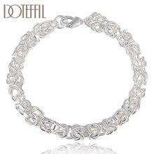 DOTEFFIL 925 en argent Sterling chaîne de crevettes perles Bracelet pour les femmes mode mariage fiançailles fête breloque bijoux
