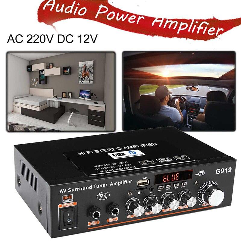 Amplificador Digital de Audio estéreo con Bluetooth, sintonizador envolvente con AC110V-220V DC12V,...