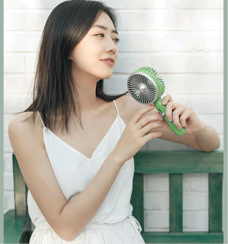 Xiaomi Guildford Vintage Mini Portable Handheld Fans 2000mAh USB Charging Desk Fans 5 Fans Powerful White/Green enlarge