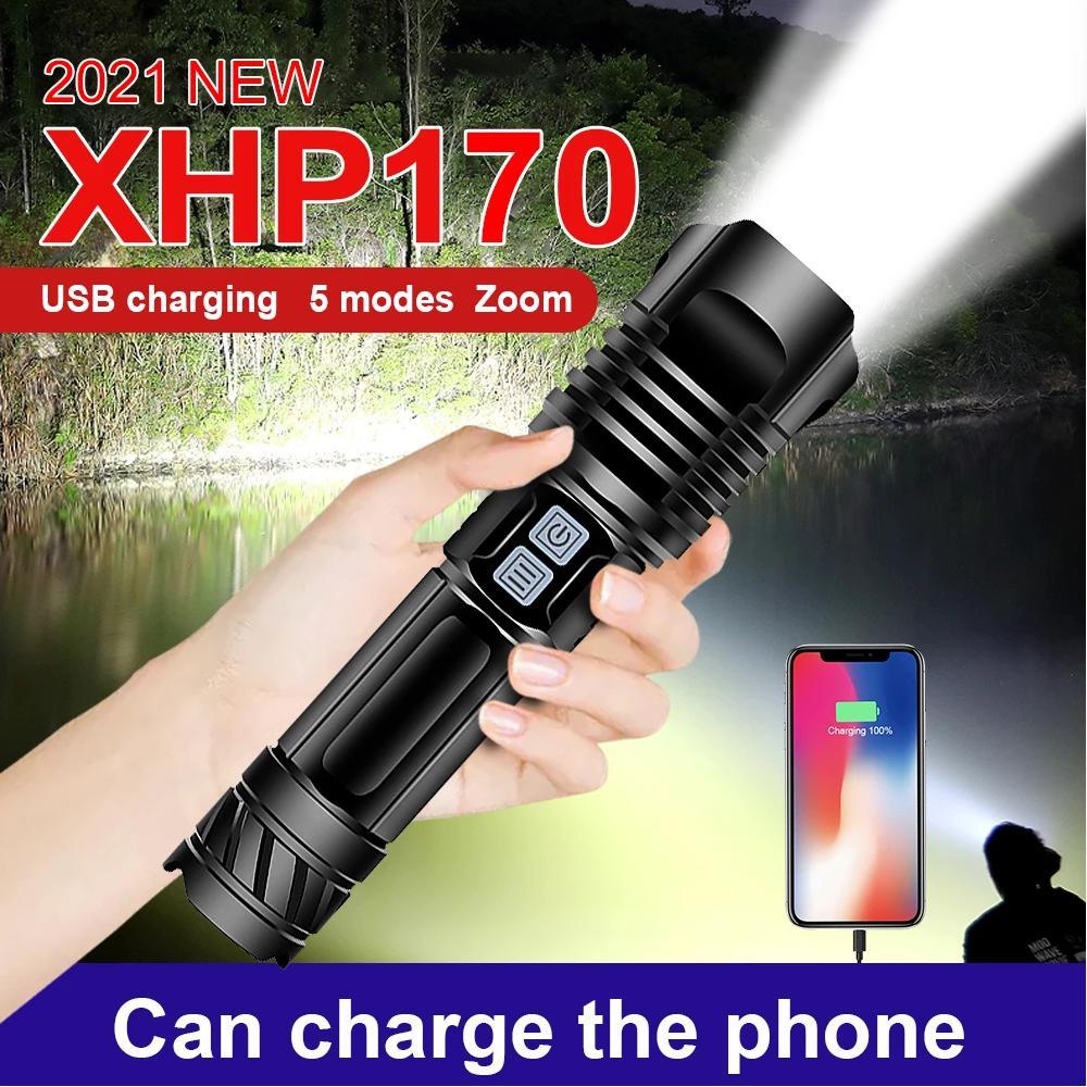 Фото - Мощная светодиодная вспышка XHP170, фонарь XHP90.3, тактическая вспышка 18650 XHP70 XHP50.2, перезаряжаемая высокомощная вспышка, 2021 вспышка