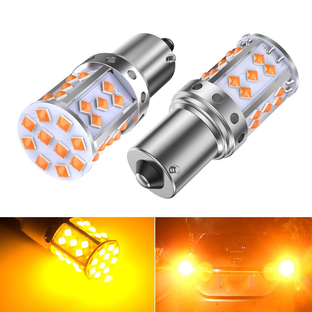 2 pçs 1156 ba15s p21w py21w bau15s t20 7440 led âmbar amarelo lâmpadas sinal de volta do carro luz reversa para bmw mercedes benz audi honda