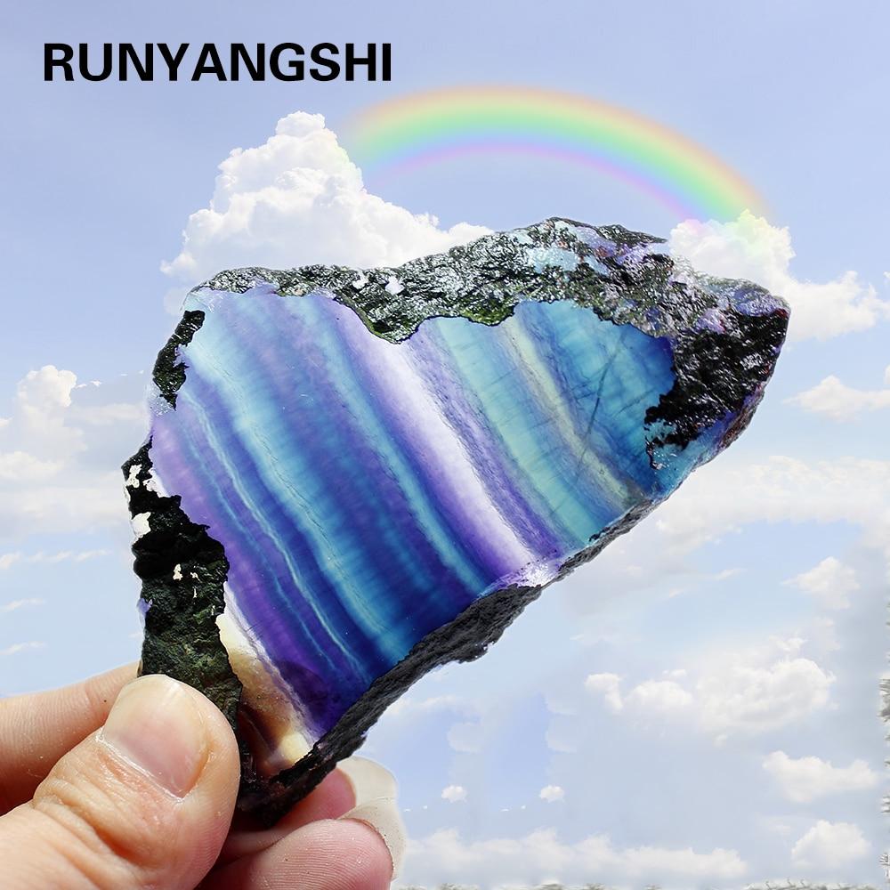 Rodajas de cristal de fluorita Natural de arco iris en bruto colorido a rayas joyería de fluorita cuarzo adornos de piedra de cristal original