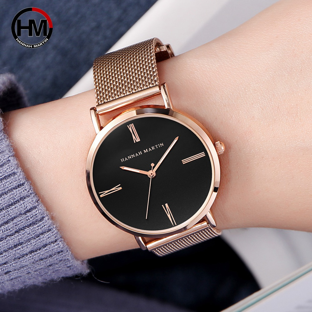 HM Japanese Quartz Movement Simple Dial Watch Women Stainless Steel Mesh Band Waterproof Ladies WristWatch Dropshipping HM07