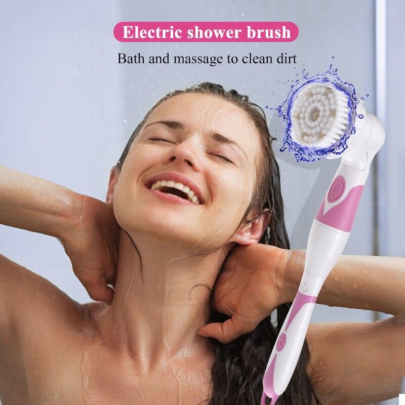 التلقائي فرشاة اغتسال 4 في 1 متعددة الوظائف الكهربائية حمام تنظيف تدليك فرشاة مقاوم للماء المضادة للانزلاق دش سبا أداة