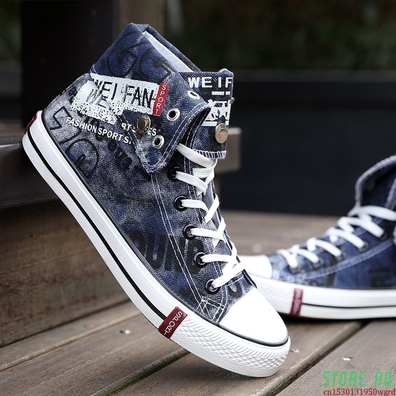 Men's Canvas Casual Shoes High Top Cowboy Flat Shoes For Men Blue Black Boys Sneakers Skateboarding