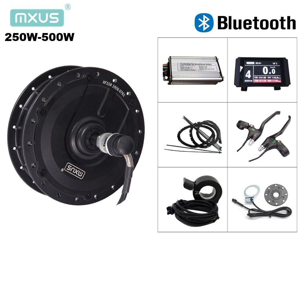 Kit ebike 36 v 250 w 350 48 v 500 w mxus hub motor xf07 xf08 xf15f xf15r controlador bluetooth e kit de conversão bicicleta elétrica lcd