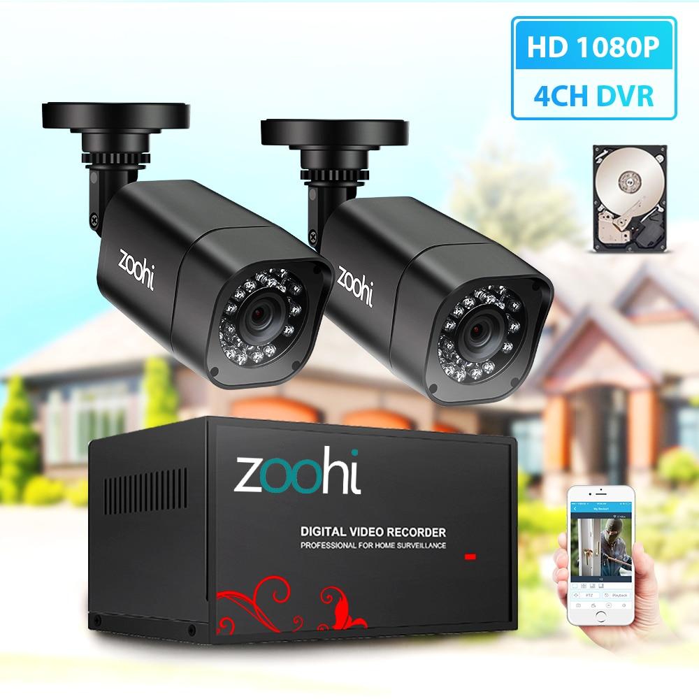 Zoohi CCTV 2CH 720P/1080P AHD Camera Kit P2P HDMI H. 264 DVR Video Surveillance System Waterproof Outdoor Security Camera Kit