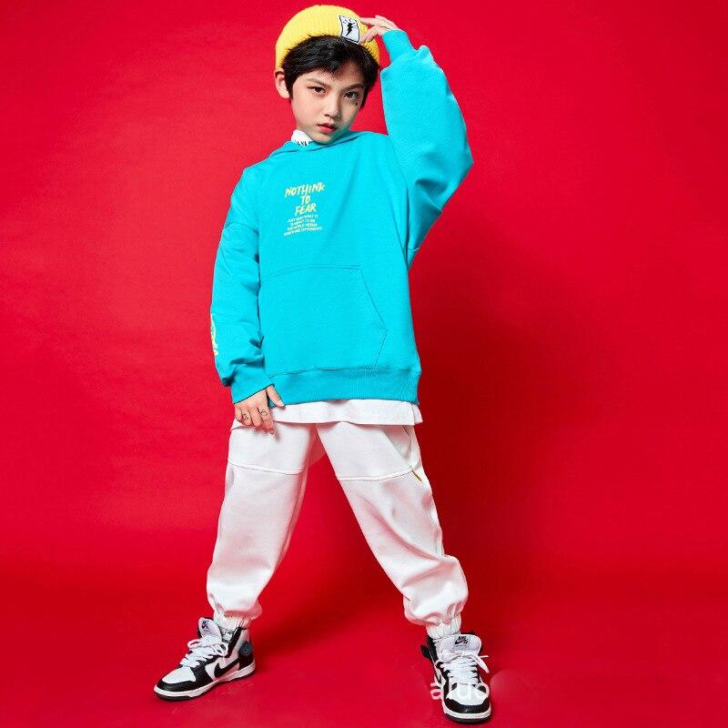 Ropa de hip-hop para niños sudaderas con capucha tops abrigos blancos sin...
