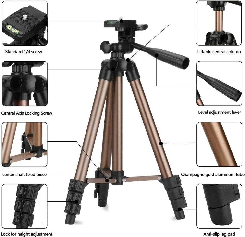 50inch/125cm Lightweight Tripod for Phone, Tripod Stand with Remote & 2 in1 Phone/Tablet Holder, for iphone/ipad/Camera enlarge