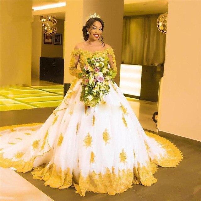 Vestido de novia de manga larga de Sudáfrica vestido de novia 2019 de hombro dorado con Apliques de encaje vestido de novia hecho a medida Plus tamaño