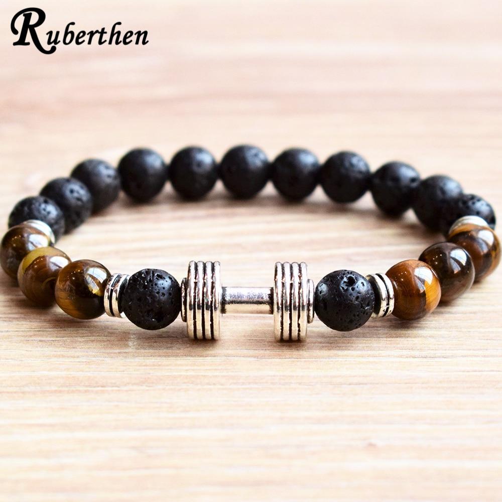 Ruberthen, amuleto de pesas para hombres, pulsera de 8 mm de Lava y Ojo de Tigre, pulsera de piedra, levantamiento de pesas, joyería de entrenamiento de construcción de cuerpo