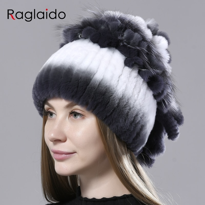 winter fur hat for women with silver fox fur flower patchwork natural fur rex rabbit hats stylish wa