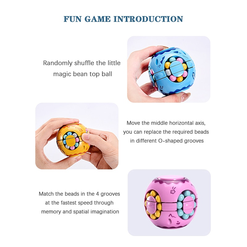 Rotating Magic Bean Intelligence Fingertip Cube Children's Finger Gyro Magic Disk Educational Cube Toy Children day Gifts enlarge
