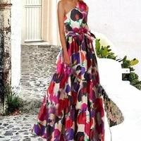 women summer beach dress long one shoulder sleeveless print sweet 3xl large floor to length mixi dresses vestidos plus size