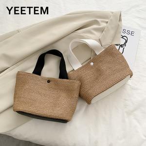Beach Bag Summer Vacation Fashion Woven Bag Retro Handbag Straw Woven Bag Women's Bag Fashionable Purses Brown