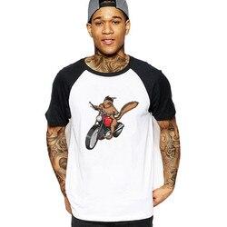 2019 streetwear esquilo em uma bicicleta motocicleta esquilo rock rider bmw mtb impressão anime camisetas engraçadas camisetas masculinas