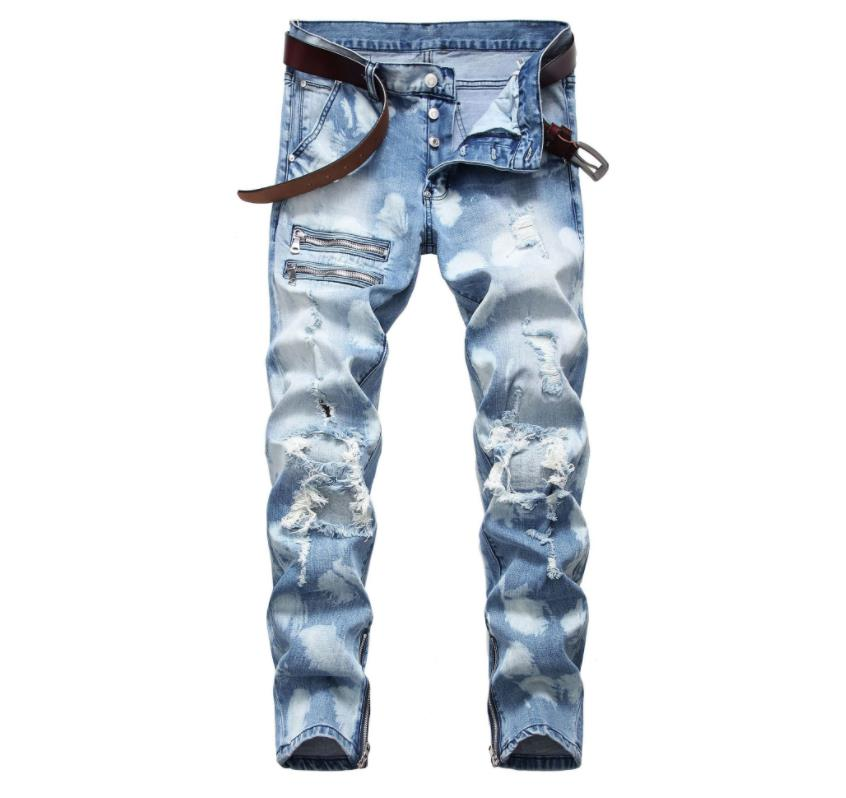 Pantalones vaqueros rectos elásticos con cremallera rasgada para hombre Pantalones de motociclista con estampado azul lavado de moda Dropshipping