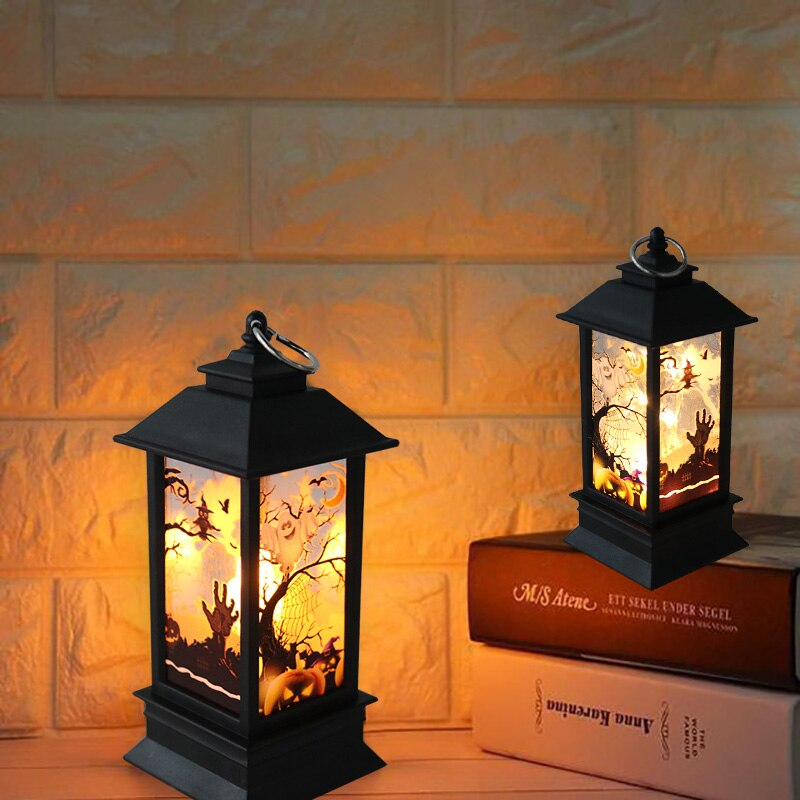 Halloween LED Glowing Light Kids Trick Or Treat Hand Lamps Hanging Lantern Happy Party Props Home Garden Decoration