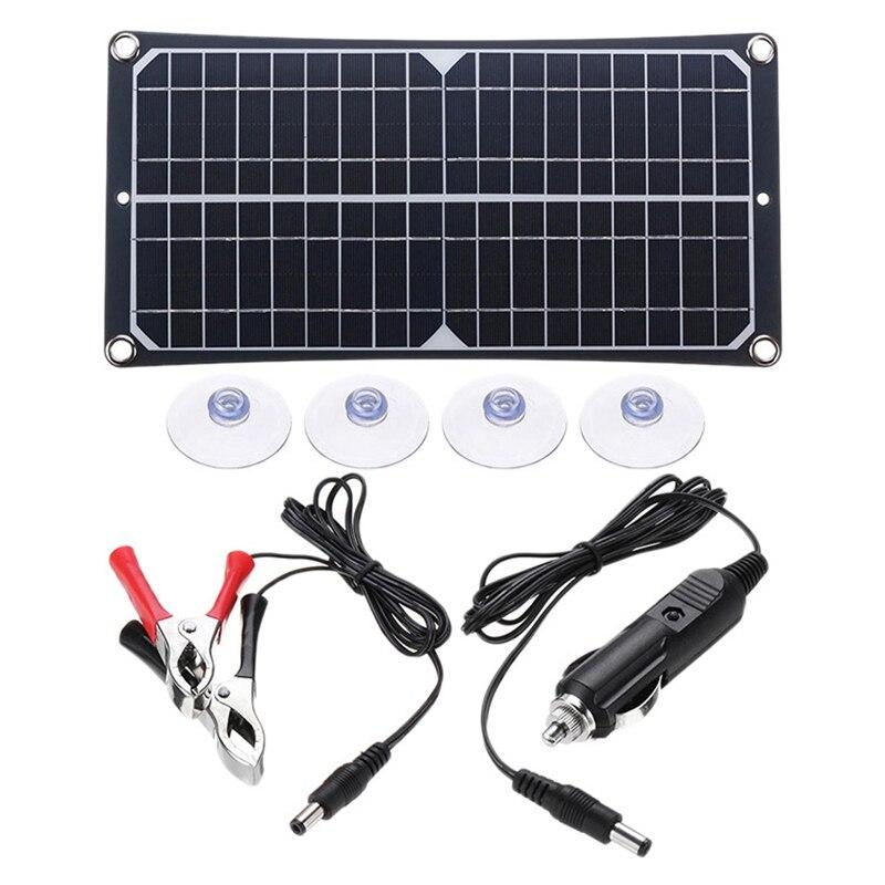 لوحة شمسية من السيليكون أحادي البلورية 20 واط 18 فولت ، خلية شمسية محمولة مقاومة للماء ، للتخييم في الهواء الطلق ، السيارة ، القارب