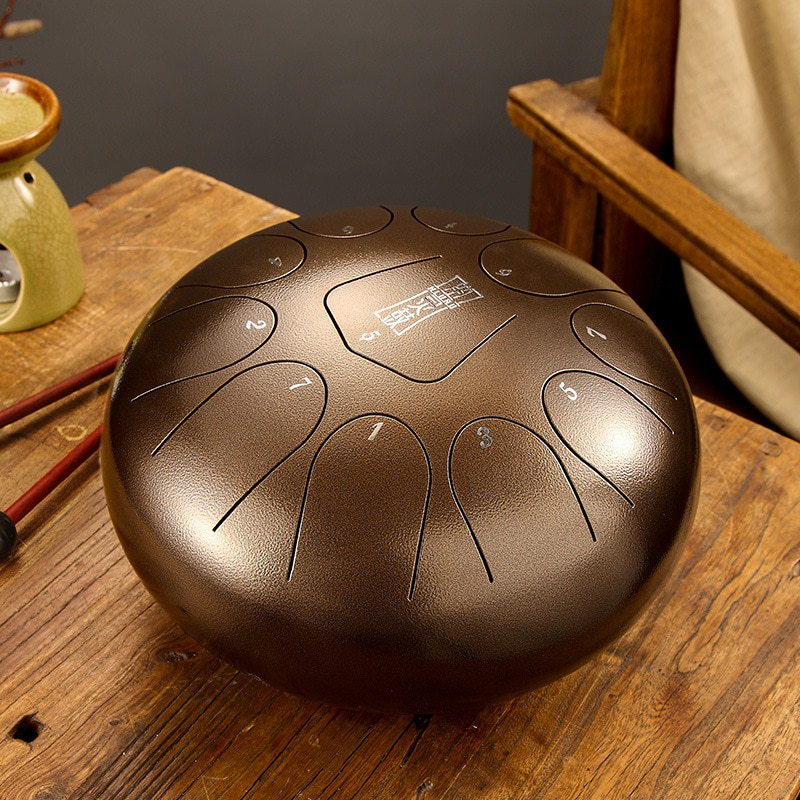 Hluru Steel Tongue Drum 8 Inch Ethereal 11 notes Tone F Chinese Tang Drum Percussion Hand pan Instrument Musical Instruments enlarge