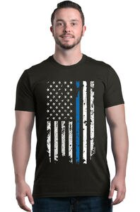 American Flag Blue Line USA Men T-shirt Law Enforcement Shirts