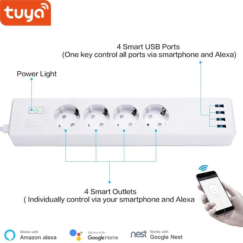 Tuya الذكية واي فاي قطاع الطاقة الاتحاد الأوروبي القياسية مع 4 المكونات و 4 منفذ USB متوافق مع أليكسا صدى وجوجل عش
