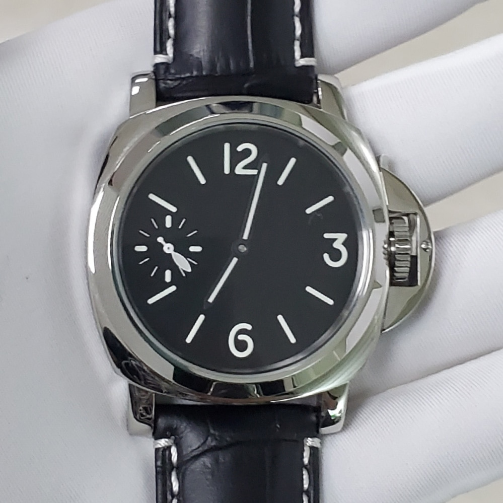 ساعة 6497 لف يدوي حركة 44 مللي متر BOMAX مارينا زجاج معدني جلد حزام مضيئة الأيدي حاوية من الفولاذ المقاوم للصدأ الرجال