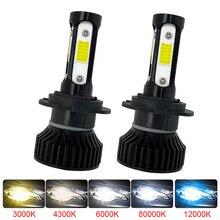 Voiture ampoule lumière Super lumineux 6000K 12V LED H4 h7 H1 HB2 H11 HIR2 9005 9006 HB4 HB3 Mini phare de voiture avec 4 côté COB antibrouillard