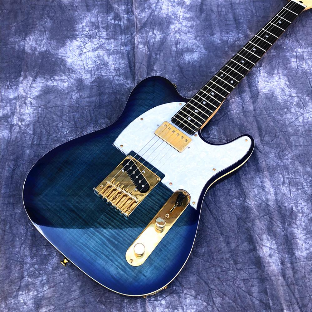 free shipping 38 inch parlor guitar solid wood acoustic guitar flame maple parlor body guitar aaa quality acoustic guitar 2019 New Blue Flame Maple TL Electric Guitar ,High Quality Solid Wood Body Maple Neck Tele Guitar,Gold Hardware