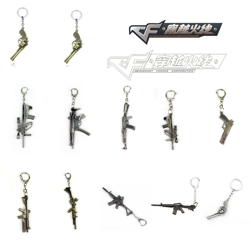 Брелок CSGO Weapon CF AK47 M4A1, кулон в виде пистолета, брелок для ключей, брелок для ключей, кольца для ключей, подарки для игрока, размер 6 см